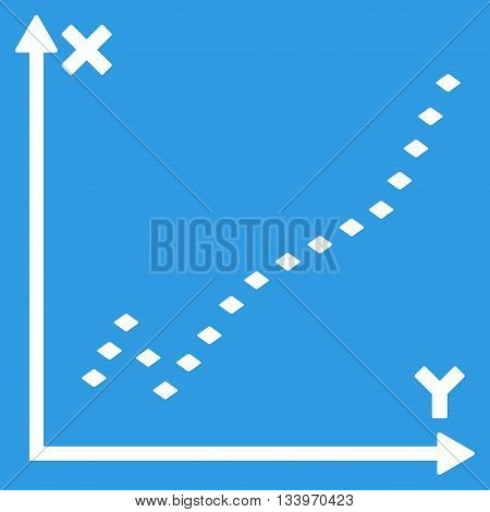 Dotted Function Plot vector toolbar icon. Style is flat icon symbol, white color, blue background, rhombus dots.