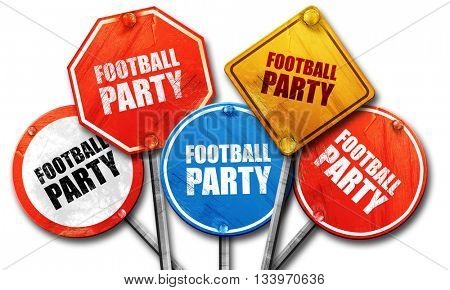 football party, 3D rendering, street signs