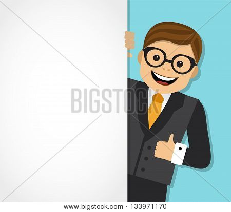 businessman looks out from behind a white background and shows an unfilled hand
