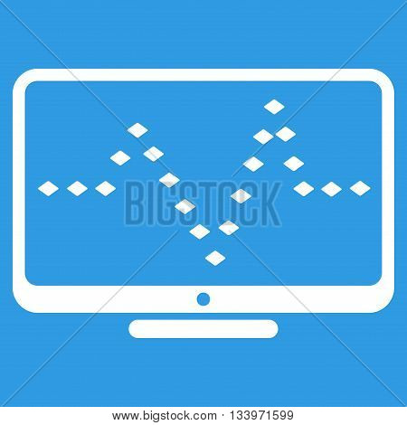 Monitor Dotted Pulse vector toolbar icon. Style is flat icon symbol, white color, blue background, rhombus dots.