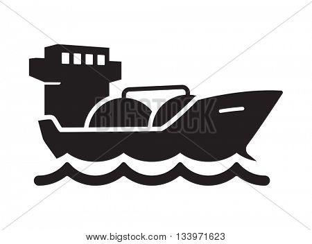 Oil tanker vector icon // Black & White