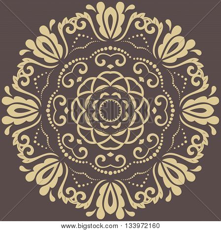 Oriental vector pattern with arabesques and floral elements. Traditional classic round ornament. Brown and golden pattern