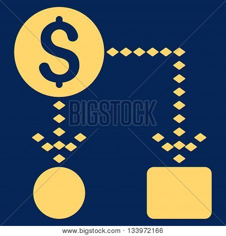 Cashflow Scheme vector toolbar icon. Style is flat icon symbol, yellow color, blue background, rhombus dots.