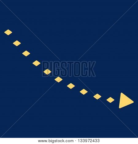 Dotted Decline Trend vector toolbar icon. Style is flat icon symbol, yellow color, blue background, rhombus dots.