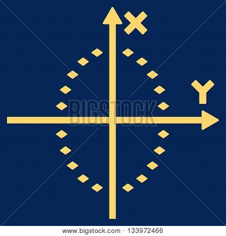 Dotted Ellipse Plot vector toolbar icon. Style is flat icon symbol, yellow color, blue background, rhombus dots.