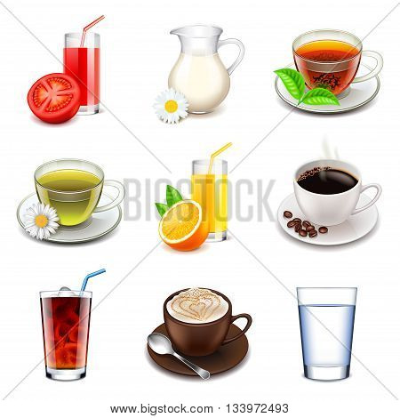 Non-alcoholic icons detailed photo realistic vector set