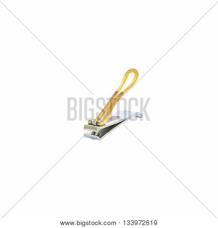 Closeup old and dirty metal nail scissors isolated on white background with clipping path