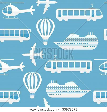 Seamless vector pattern background travel, transport. Bus ship, train, jet icons