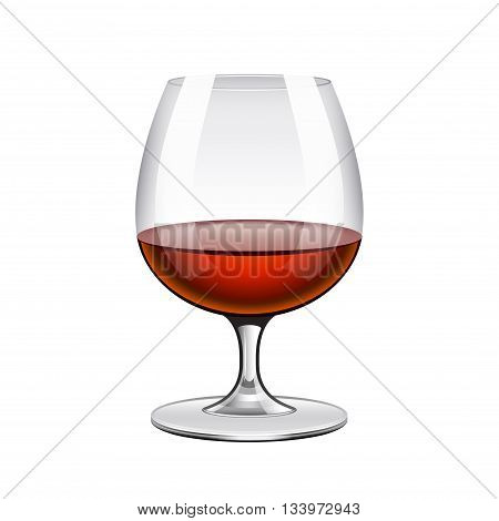 Brandy in glass isolated on white photo-realistic vector illustration