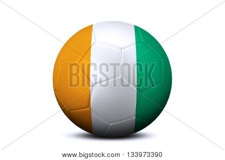 Image of a soccer ball with national flag of Ivory Coast or Cote d'ivoire isolated on white background