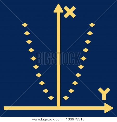 Dotted Parabola Plot vector toolbar icon. Style is flat icon symbol, yellow color, blue background, rhombus dots.