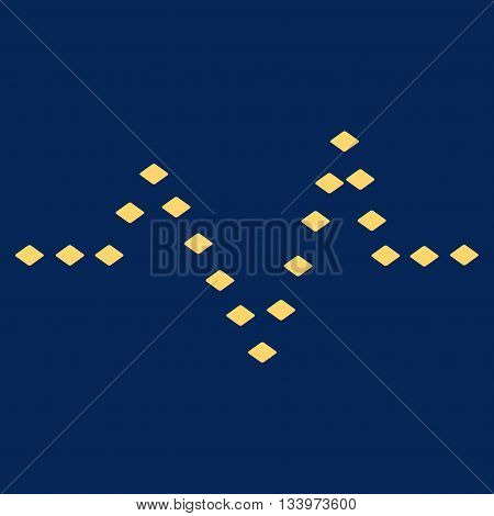 Dotted Pulse vector toolbar icon. Style is flat icon symbol, yellow color, blue background, rhombus dots.