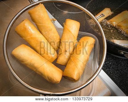 Homemade deep Frying crispy - Spring Rolls