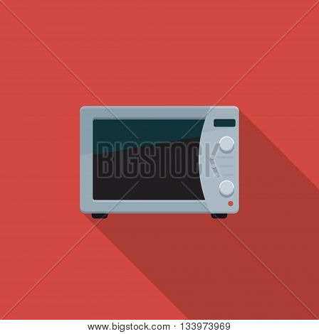 Flat color icon kitchen microwave. Vector illustration