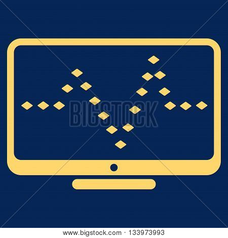 Monitor Dotted Pulse vector toolbar icon. Style is flat icon symbol, yellow color, blue background, rhombus dots.