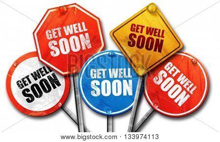 get well soon, 3D rendering, street signs