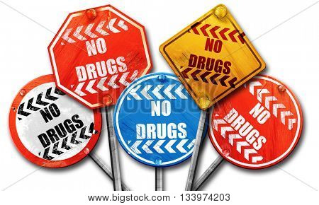No drugs sign, 3D rendering, street signs