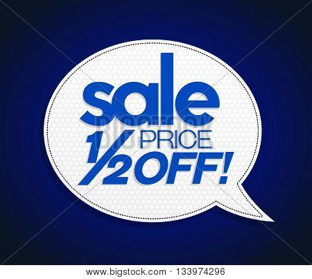 Sale Tag Half Price Off Bright Blue