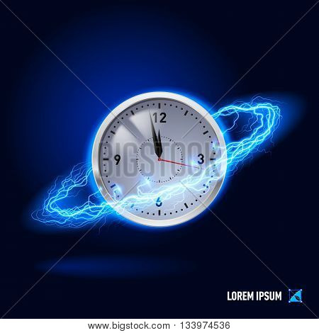 Clock surrounded by a stream of blue energy in the space
