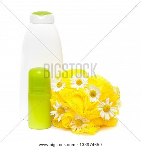 Bodycare product with daisy isolated on a white background