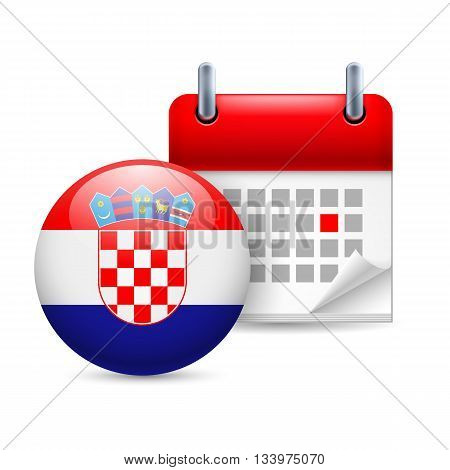 Calendar and round Croatian flag icon. National holiday in Croatia