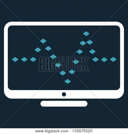 Monitor Dotted Pulse vector toolbar icon. Style is bicolor flat icon symbol, blue and white colors, dark blue background, rhombus dots.