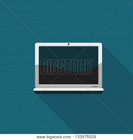 Color flat icon modern laptop. Vector image
