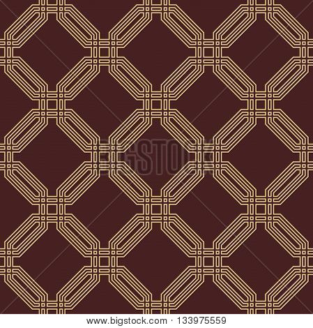 Geometric fine abstract vector octagonal background. Seamless modern pattern. Brown and golden pattern