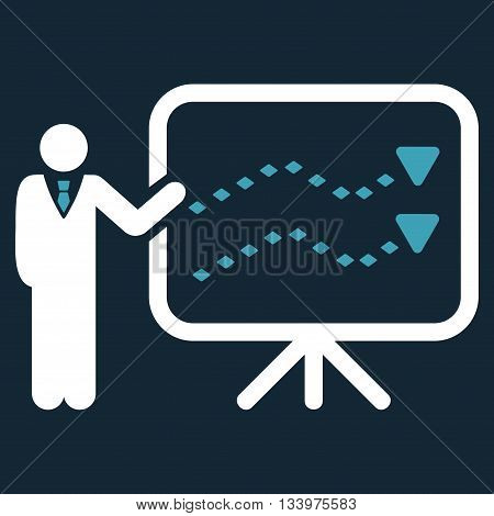 Trends Presentation vector toolbar icon. Style is bicolor flat icon symbol, blue and white colors, dark blue background, rhombus dots.