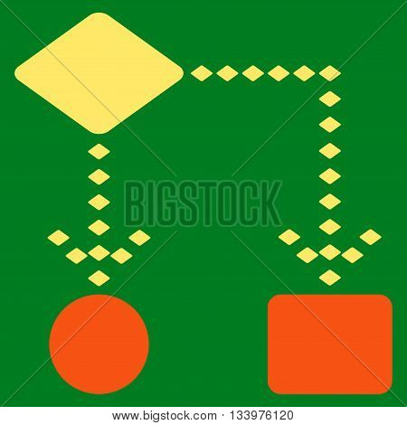 Algorithm Scheme vector toolbar icon. Style is bicolor flat icon symbol, orange and yellow colors, green background, rhombus dots.