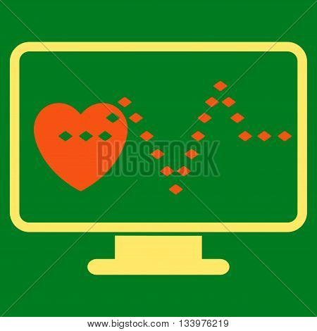 Cardio Monitoring vector toolbar icon. Style is bicolor flat icon symbol, orange and yellow colors, green background, rhombus dots.
