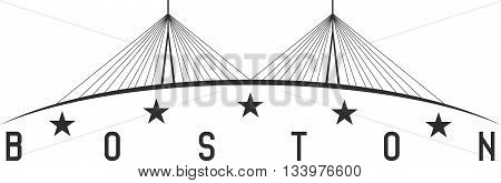 The Leonard P. Zakim Bunker Hill Memorial Bridge, Boston Massachusetts Usa Vector Illustration