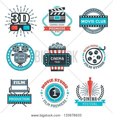 Cinema colorful emblems with projector reel clapper 3d-glasses award ticket popcorn rays chair isolated vector illustration