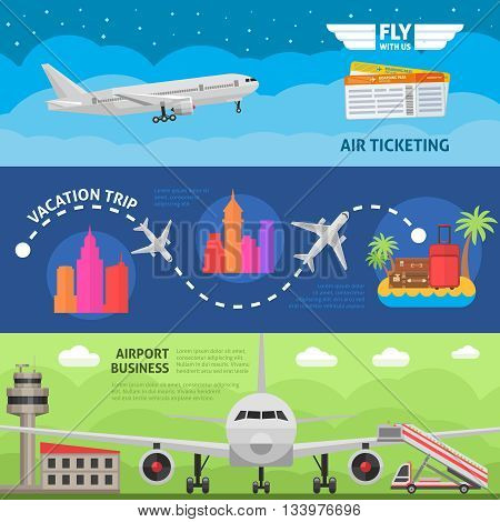 Air travel horizontal banners set with ticket service vacation trip airport business isolated vector illustration