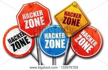 hacker zone, 3D rendering, street signs