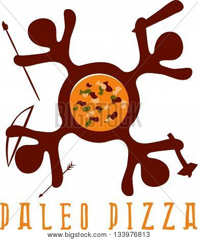 Paleo Pizza Concept Vector Illustration With Cavemans