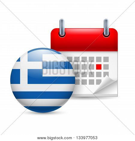 Calendar and round Greek flag icon. National holiday in Greece
