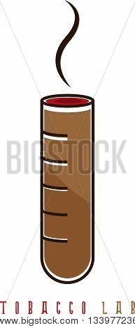 cigar in the flask vector illustration in tobacco lab concept