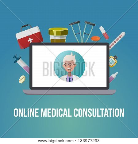 Medical style poster with blond doctor in white coat on a computer screen and medical tools around vector illustration