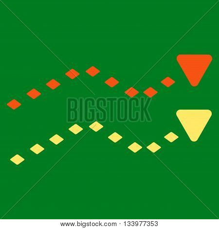 Dotted Trends vector toolbar icon. Style is bicolor flat icon symbol, orange and yellow colors, green background, rhombus dots.