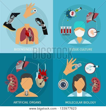 Four biotechnology icon set with descriptions of bioengineering tissue culture artificial organs and molecular biology vector illustration