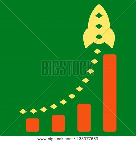 Rocket Business Bar Chart vector toolbar icon. Style is bicolor flat icon symbol, orange and yellow colors, green background, rhombus dots.