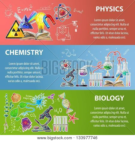 Three horizontal colored science banner set with descriptions of physics chemistry and biology vector illustration