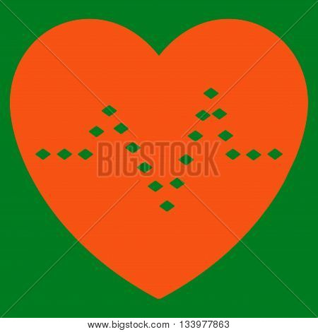 Dotted Heart Pulse vector toolbar icon. Style is flat icon symbol, orange color, green background, rhombus dots.