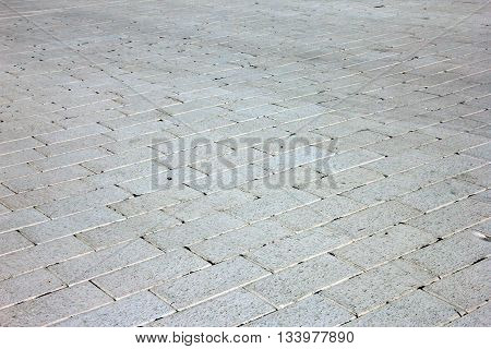 paving by white rectangular stone like white brick paving in perspective view