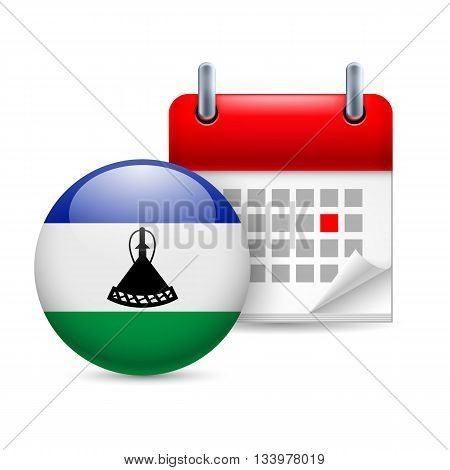 Calendar and round flag icon. National holiday in Lesotho