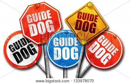 guide dog, 3D rendering, street signs