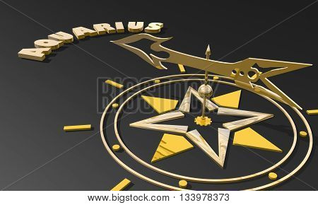 the water-bearer astrology sign. Golden compass arrow point to astrological symbol name. 3D rendering