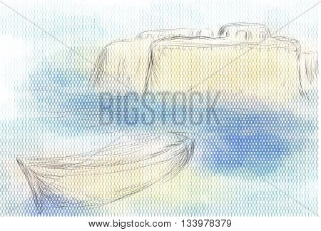 gallipoli and sea. abstract skyline on multicolor background