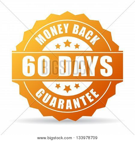 60 days money back gold icon isolated on white background